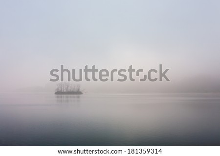 Pine Island at tranquil dawn in the Han River, Korea - stock photo
