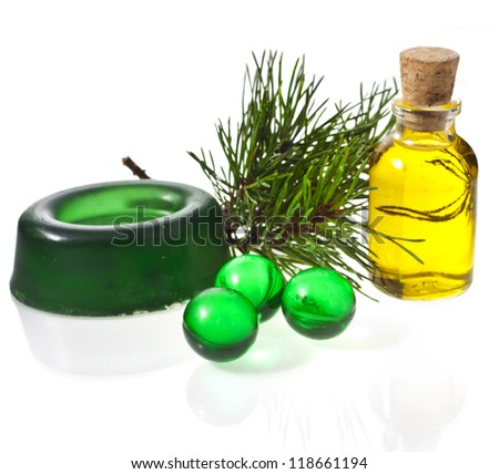 pine oil in bottles, soap and bath ball ,  isolated on a white background - stock photo