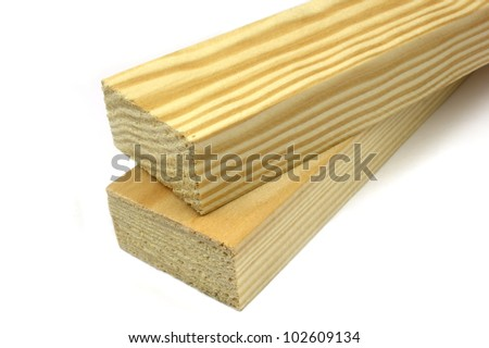 Pine timber on a white background - stock photo