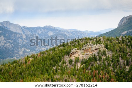 Pine Trees and Mountains at Rocky Mountain National Park - stock photo