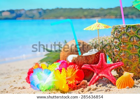 pineapple and coconuts by the shore in Sardinia - stock photo