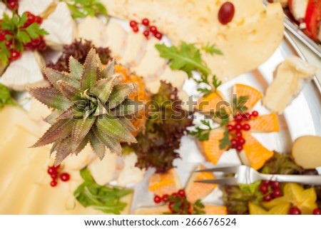 Pineapple and different appetizers - stock photo