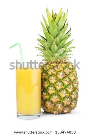 Pineapple and glass of juice. Studio shot - stock photo