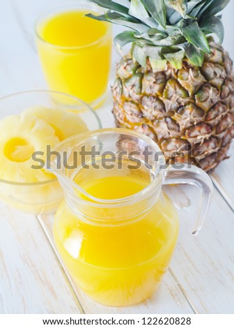 pineapple and juice - stock photo