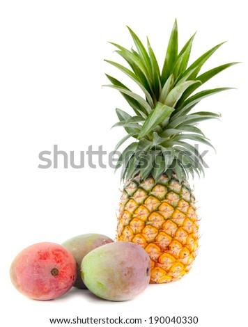 pineapple and mango isolated on white background - stock photo
