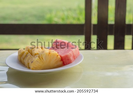 Pineapple and melon fruit for good health. - stock photo