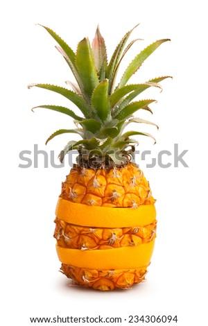 pineapple and orange isolated - stock photo