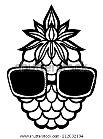 Pineapple and sun glasses black sketch cartoon hand drawn illustration isolated on a white background - raster version - stock photo