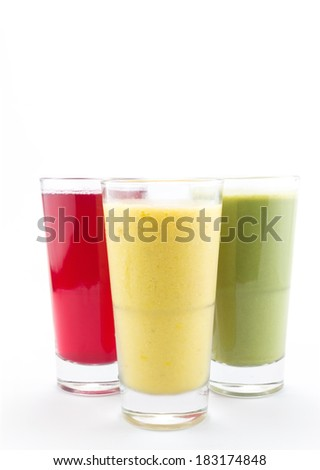 Pineapple, Beetroot, Avalcado Smoothie on white background