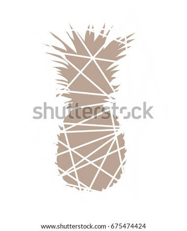 Pineapple beige abstract. Pineapple Trendy, modern design for print