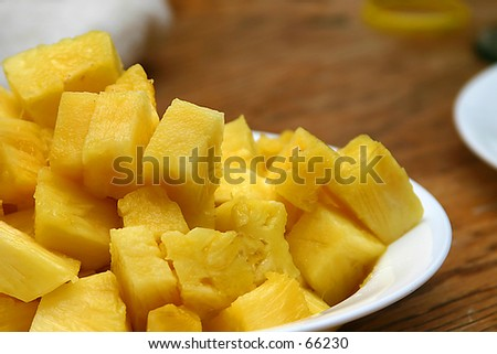 Pineapple Chunks - stock photo