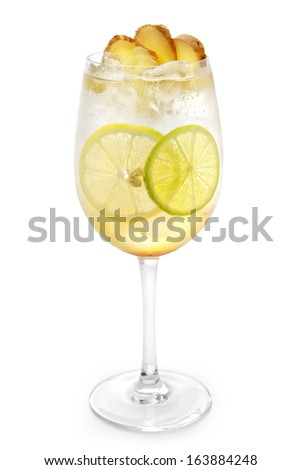 Pineapple Cocktail on white background - stock photo