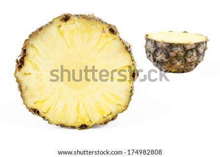 Pineapple cross section isolated on white background