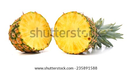 pineapple cut on white background  - stock photo