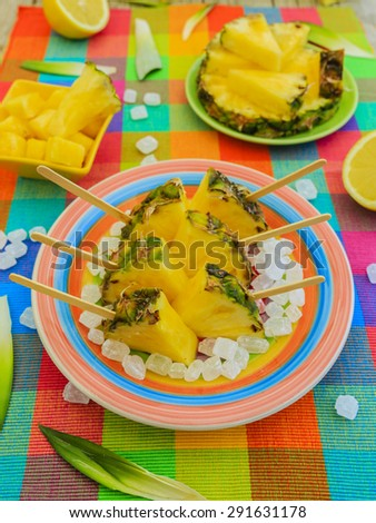 Pineapple - delights with pineapple, summer party - stock photo