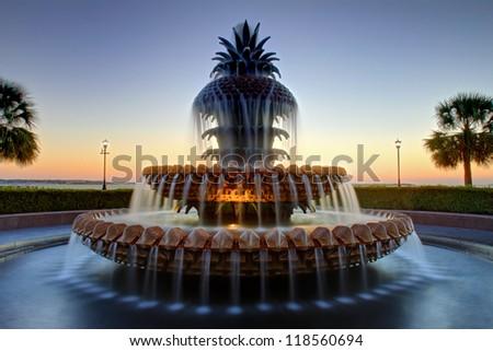 Pineapple Fountain, Charleston South Carolina - stock photo