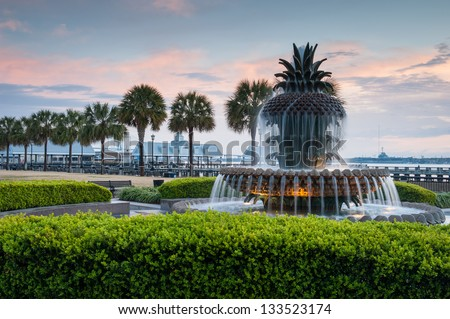 Pineapple Fountain Charleston South Carolina's Waterfront Park - stock photo