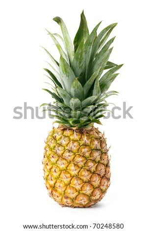 Pineapple is isolated on a white background - stock photo