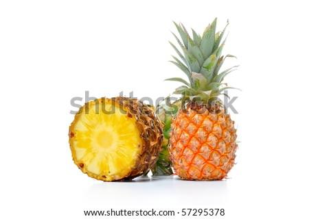 pineapple isolated on white background - stock photo