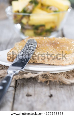 Pineapple Jam Sandwich on a small plate - stock photo