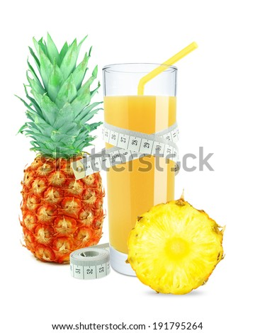 pineapple juice and meter on white background  - stock photo