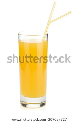 Pineapple juice in a glass with drinking straws. Isolated on white background