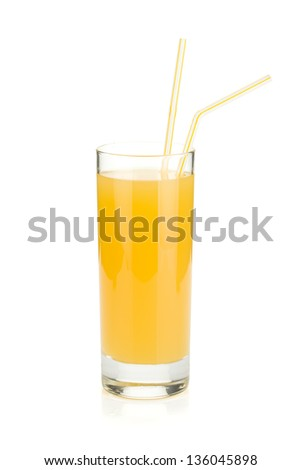 Pineapple juice. Isolated on white background