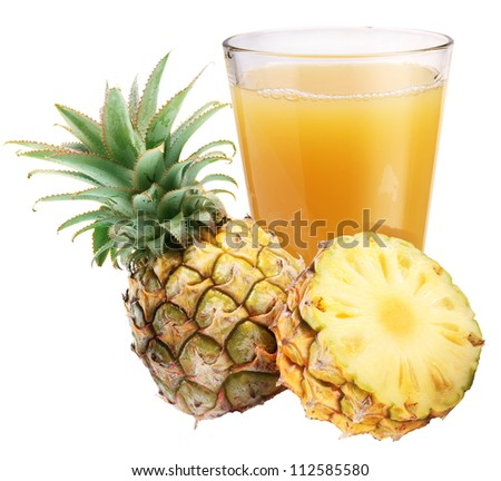 Pineapple juice with ripe pineapple on a white background. - stock photo