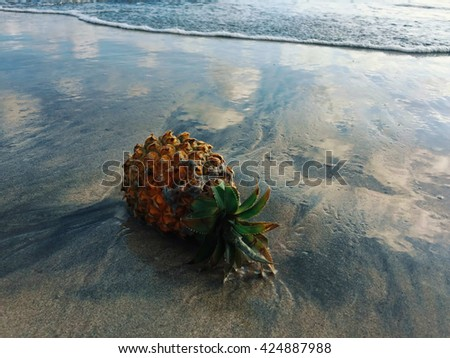 Pineapple on the beach during low tide, pineapple on sandy beach, sky reflection in sand near pineapple, pineapple offering to sea gods, Bali island religion, ripe pineapple photo, tropical beach - stock photo