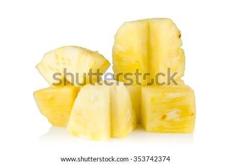 pineapple slice on isolated , fruit background and texture