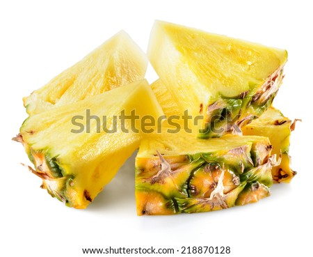 Pineapple slices isolated on white background.  - stock photo