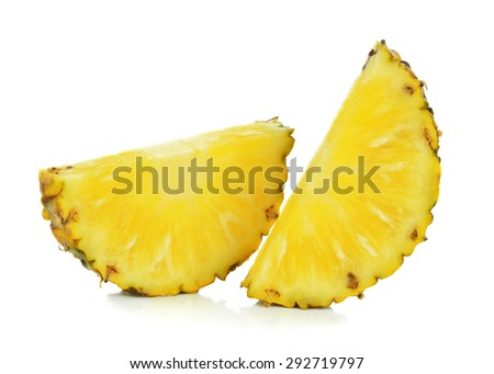 Pineapple slices isolated on white background.