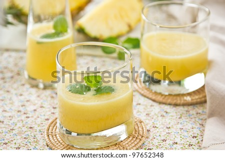 Pineapple smoothie - stock photo