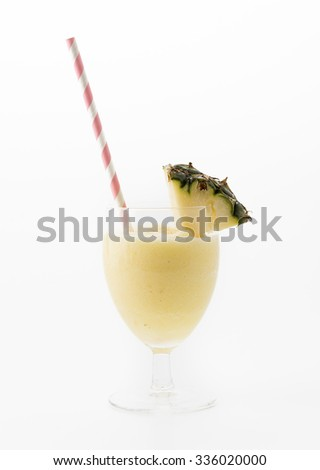 pineapple smoothie on white background