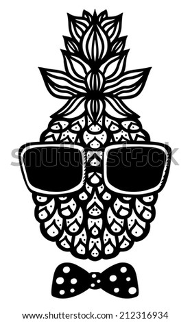 Pineapple, sun glasses and bow tie black sketch cartoon hand drawn illustration isolated on a white background - raster version  - stock photo