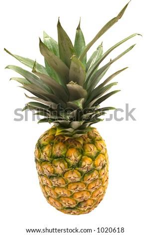 Pineapple w/ Path (Top View) - stock photo