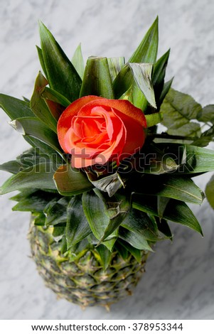Pineapple with red roses on a marble table, fruits, tropical flowers - stock photo