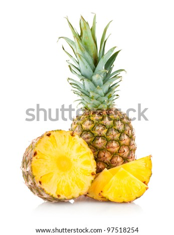pineapple with slices - stock photo