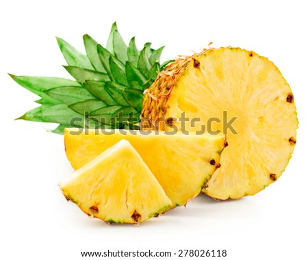 pineapple with slices isolated - stock photo