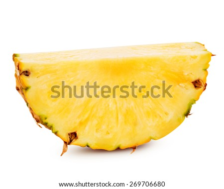 pineapple with slices isolated Clipping Path  - stock photo