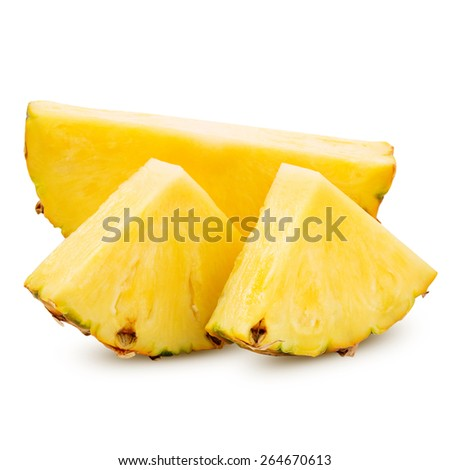 pineapple with slices isolated on white Clipping Path