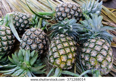 Pineapples (Ananases) at fruit market - stock photo
