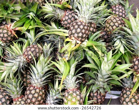 Pineapples at a market