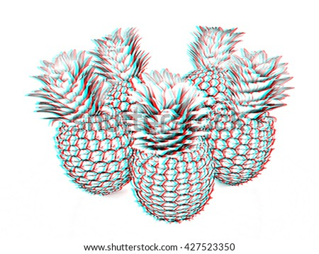 pineapples on a white background. Pencil drawing. 3D illustration. Anaglyph. View with red/cyan glasses to see in 3D.