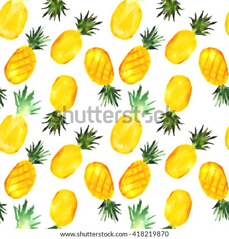 pineapples pattern, hand drawn watercolor - stock photo