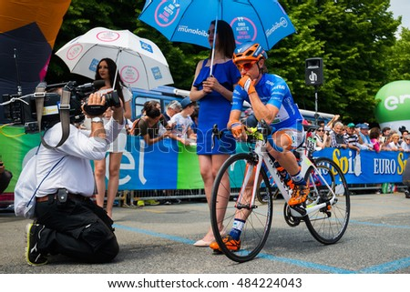Pinerolo, Italy May 27, 2016; Damiano Cunego, Nippo Vini Fantini Team, in blue jersey and  in the front row ready to start for the hard mountain stage from Pinerolo to Risoul in the Tour of Italy 2016