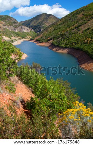 Pineview Reservoir as seen from the Ogden River Scenic Byway - stock photo