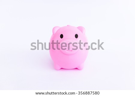 ping piggy bank on white background