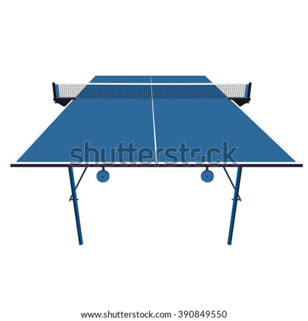 Ping pong blue table tennis. illustration.