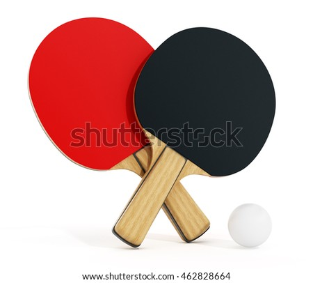 Ping pong or table tennis rackets isolated on white background. 3D illustration.
